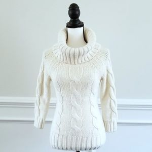 BEBE Cream Cable-Knit Cowl Neck Tunic Sweater